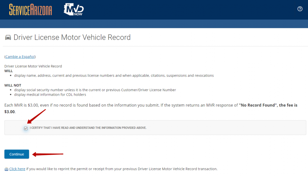 First step to get driving record online in Arizona.