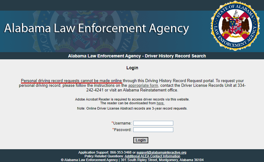 Alabama Law Enforcement Agency does not allow to request personal driving record online.