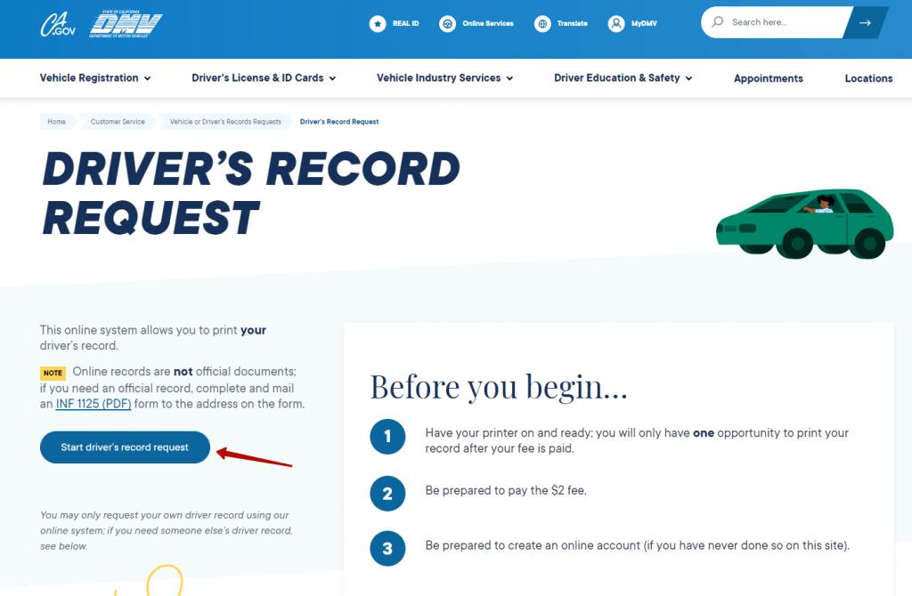 Requesting driving record in California.