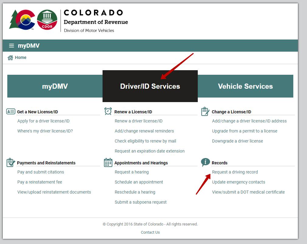 Requesting driving record in Colorado.