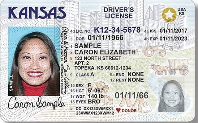 Sample of Kansas drivers license.