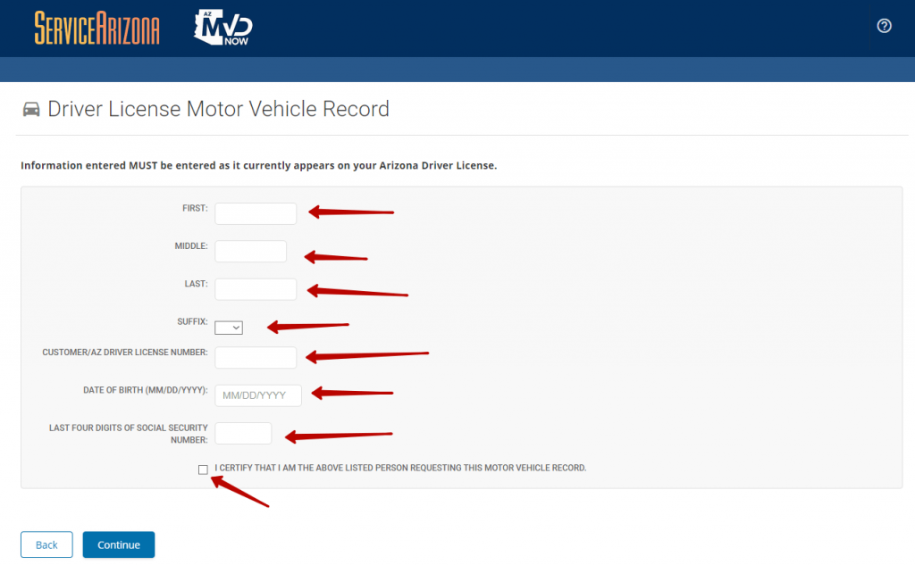 Second step to get driving record online in Arizona.