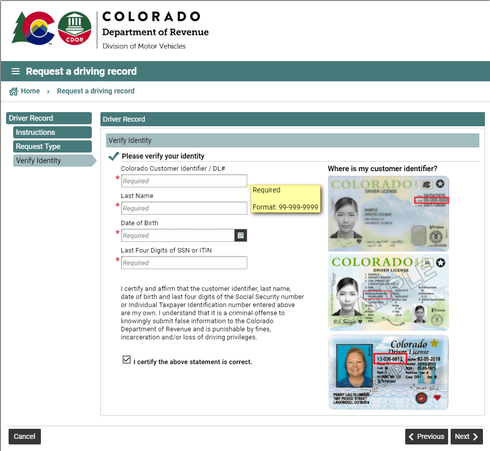 Verifying identity to get a driving record in Colorado.